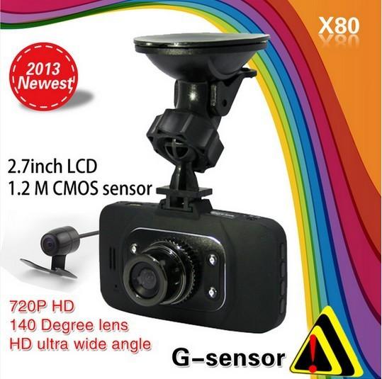 X80 Dual Camera Car DVR ,140 degrees wide Angle, 2.7inch LCD HD1280*720P G-Sensor