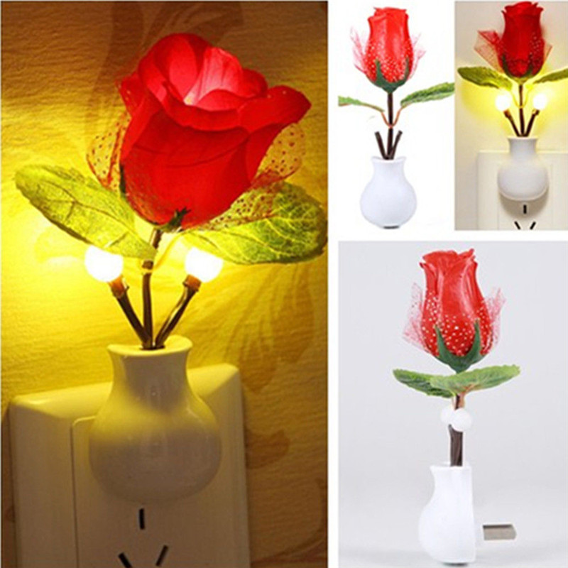 Hot Fashion LED Rose Night Light Rose Lamp Home Decoration LED Wall Lamp VC466 P40(China (Mainland))