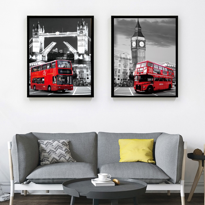 Modern Canvas Painting black and white painting London red bus Tower Bridge Home Decorative Art Picture Paint on Canvas Prints(China (Mainland))