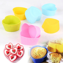 Free shipping New 12ps/lot  Heart shape Silicone Muffin Cupcake Mould Case Bakeware Maker Mold Tray Baking Cup Liner Baking Mold(China (Mainland))