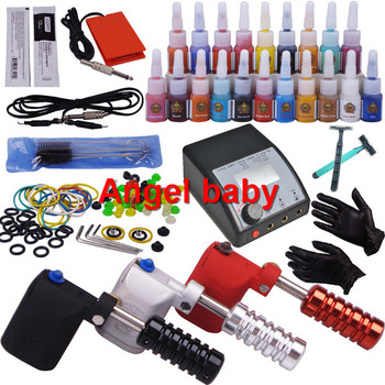 tattoo kits for beginners-3 rotation tattoo machine with tattoo needles,steel tips,brushes,2pcs of shaver and other attachments