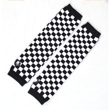 Pair Black White Plaids Print Acrylic Fingerless Arm Warmers Gloves for Women(China (Mainland))