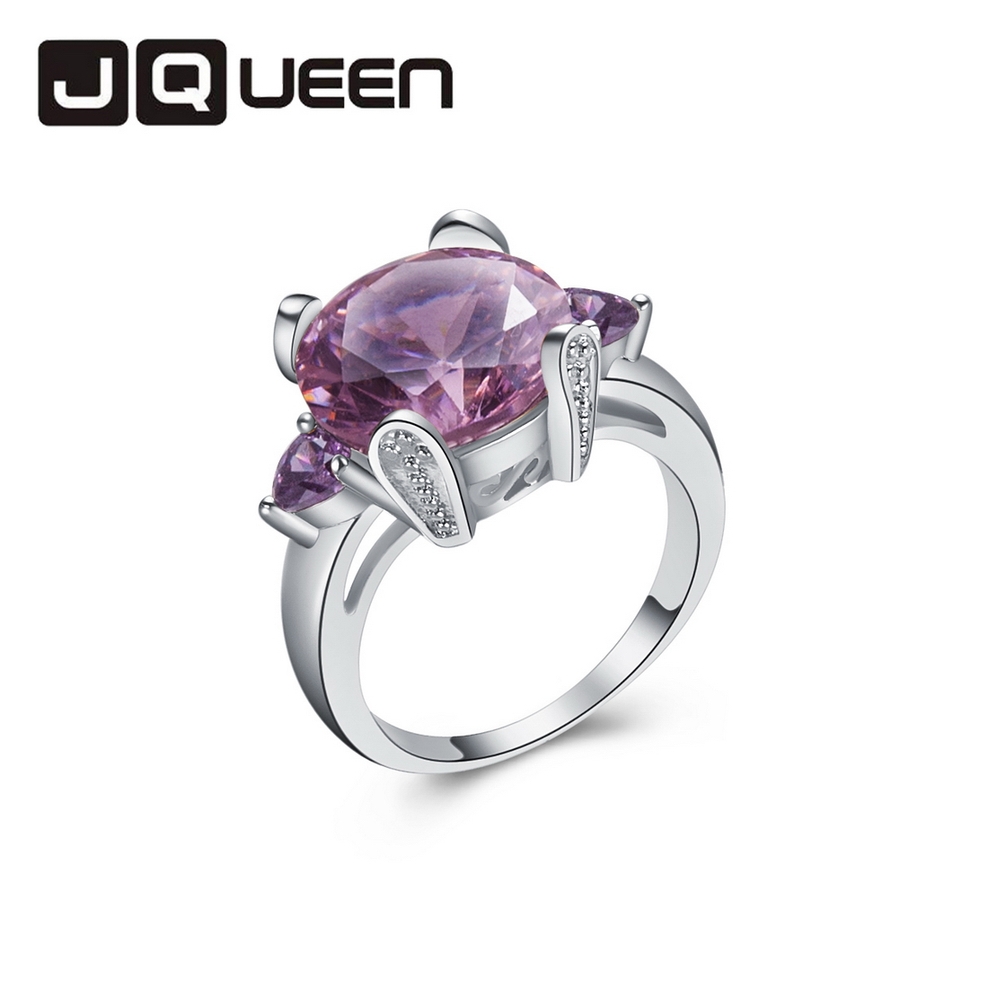 Pink Topaz & Amethyst Free Shipping Romantic Fashion Women's Wedding Crystal Finger Purple Ring Bijoux(China (Mainland))