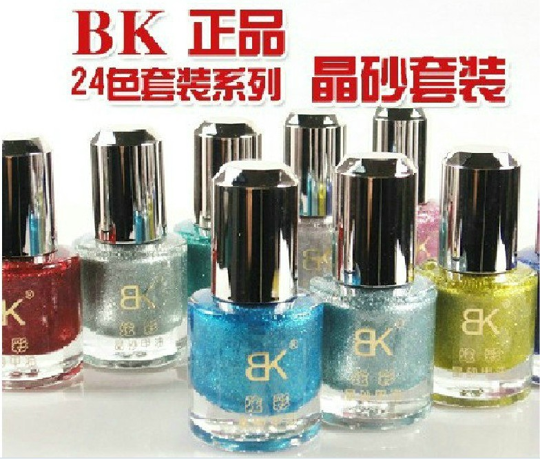 free shipping 12pcs/lot Bk sand nail polish metal eco-friendly nail polish oil luster metal sparkling metal polish(China (Mainland))