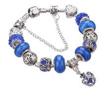 Fashion Silver plated Primrose Murano Charms Crystal Bracelets & Bangles jewelry Wholesale fit Pandoras Bracelet Women(China (Mainland))