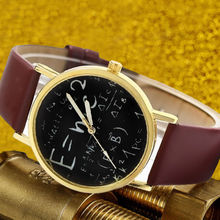 Brown Mathematical Formula Einstein E=MC2 Equation Watch Faux Leather Dress Wristwatch