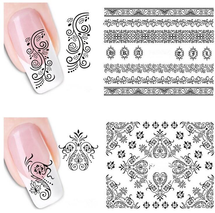 чб рисунок на ногтях
