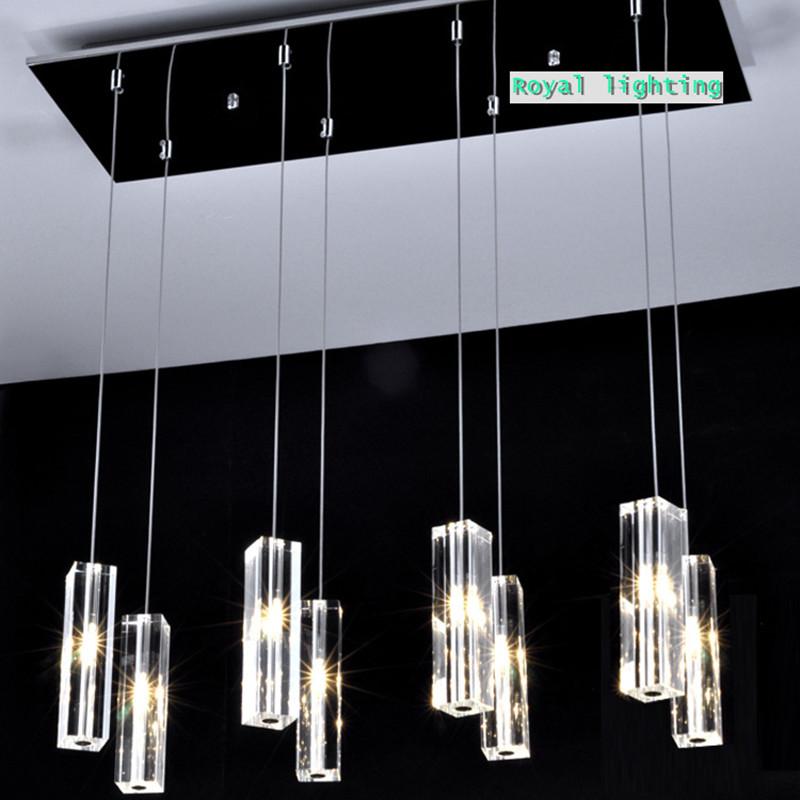 Large Dining Room Led Crystal Pendant Lamps 8 Lights Big