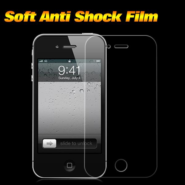 Premium TPU Anti-Shock Screen Protector for Iphone 4 4S Clear Screen Protective Film for Iphone 4 Front and Back Film(China (Mainland))
