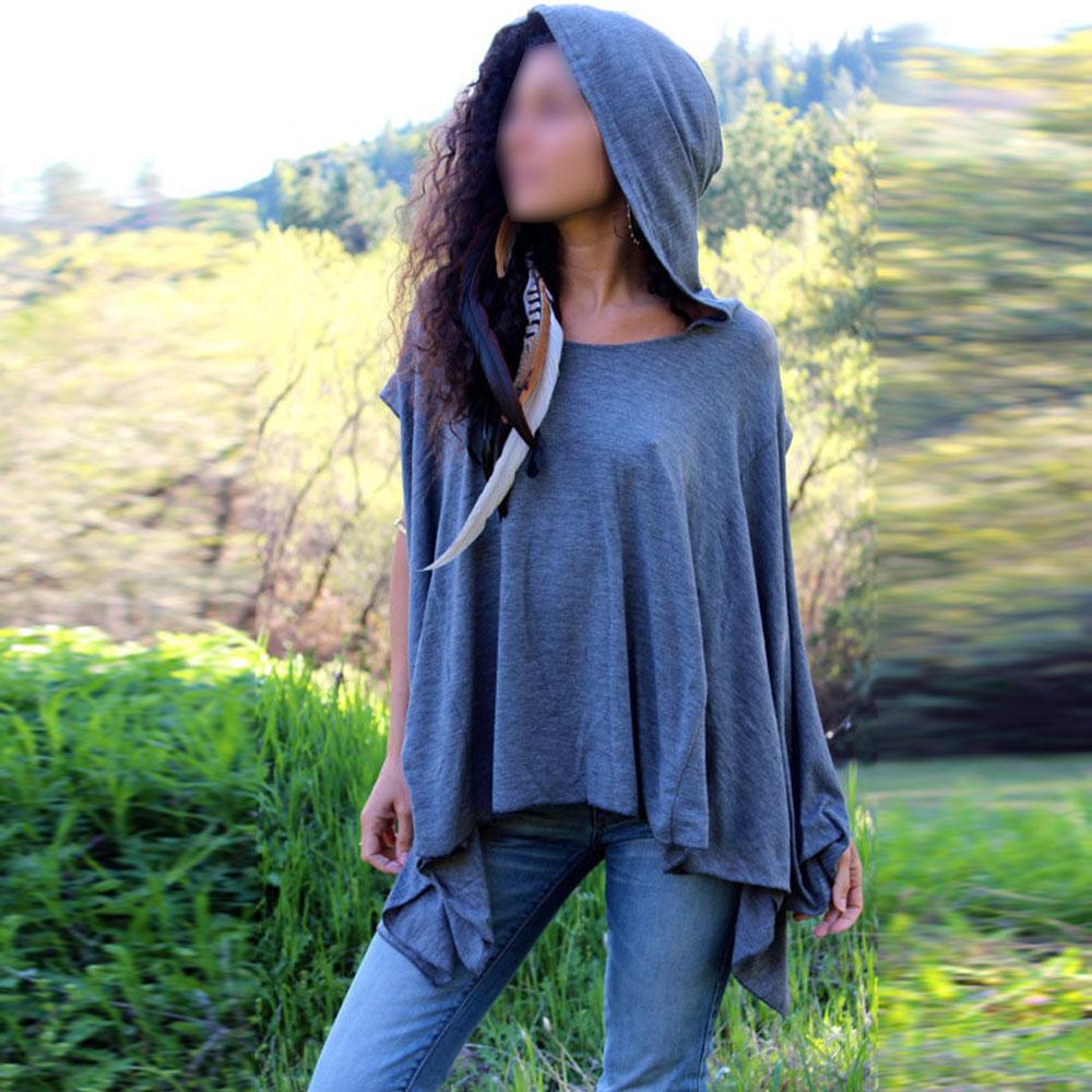 Fashion Hooded Batwing Sleeve Cozy Oversized Summer Shirt Asymmetric Hem Tunic(China (Mainland))