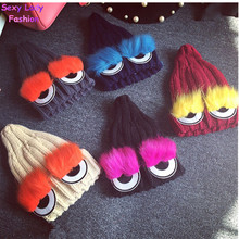 Monster Eye Faux Fur Eyelash Knitted Beanie Hat Cap Women Knit Skullies 2015 Cute New cappelli bonnets (China (Mainland))