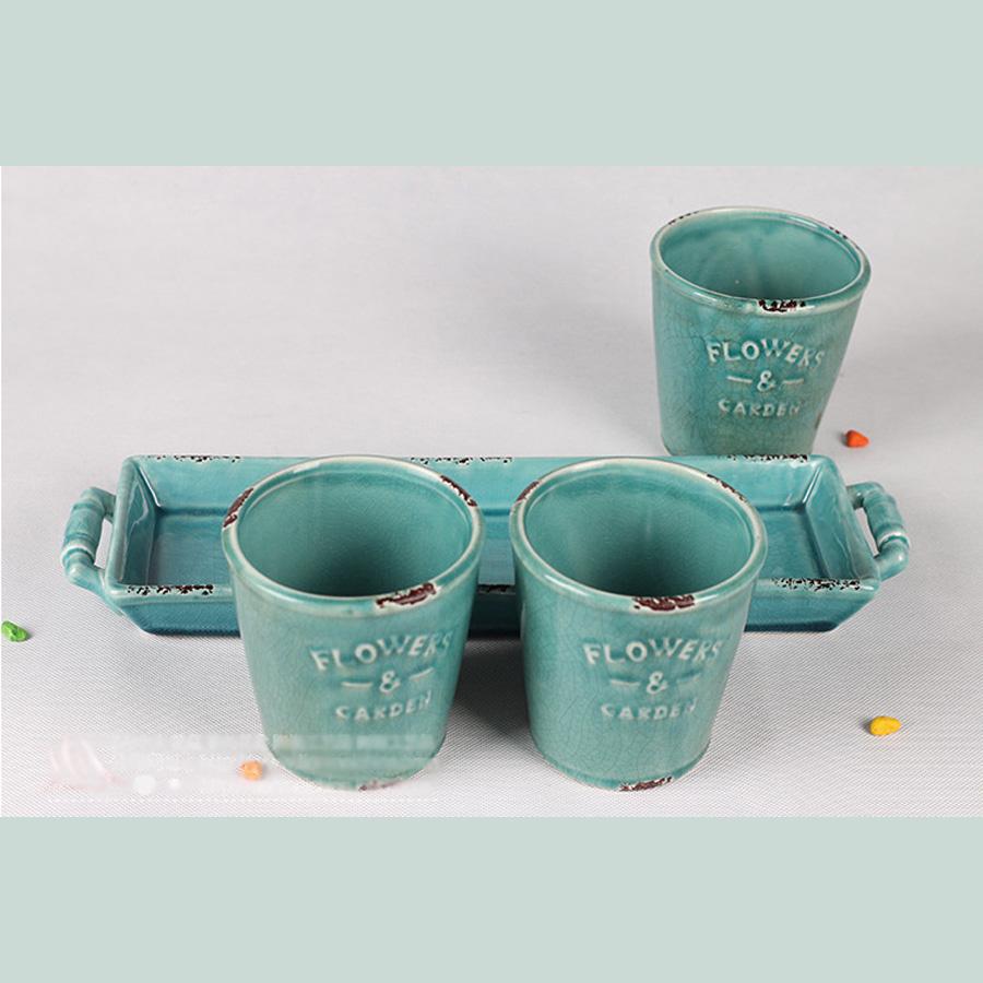 4 Pieces Planter Ceramic Pocerlain Bonsai Container Pot W