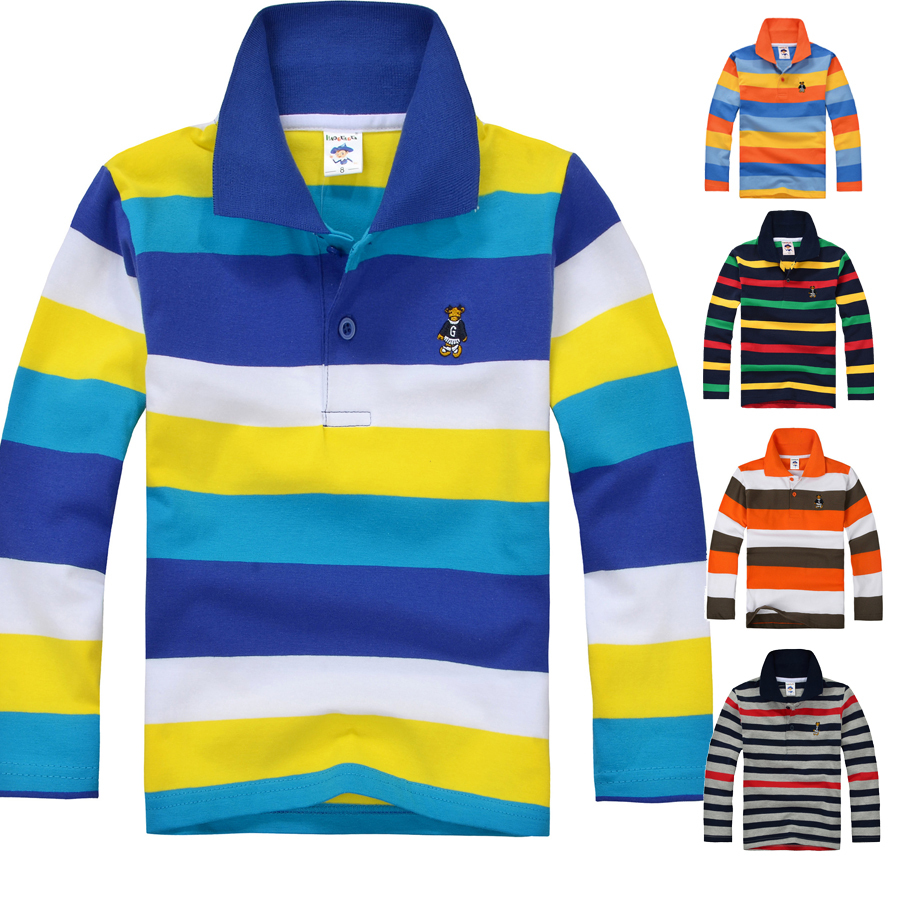 Top quality boys t shirt kids toddler big boys clothing long sleeve 100% cotton striped tops size 2 4 6 8 10 12 14 years(China (Mainland))