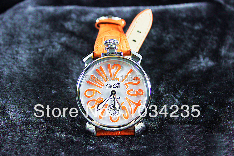 Free shipping!! Gaga fashion watch large dial mechanical strap unisex gaga watch needle mens watch ladies watch as gift(China (Mainland))