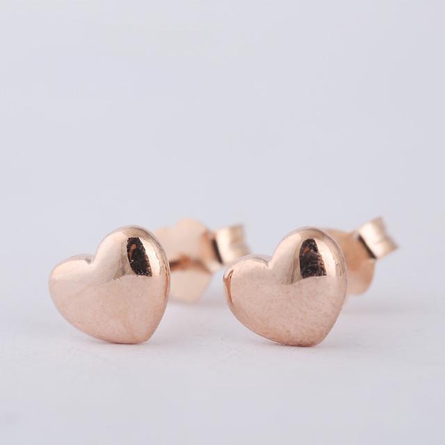 S925 серебряной сережки в форме сердца роуз позолоченные серьги для женщин 2015 новые гипоаллергенный мода серьги DIY ювелирных