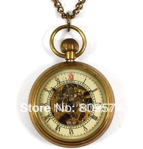 for wholesale price good quality girl woman lady bronze fashion vintage retro classic mechanical steampunk pocket watch necklace