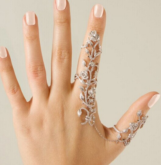 New fashion accessories jewelry chain link full rhinestone rose flower double finger ring for women girl nice gift R1468(China (Mainland))