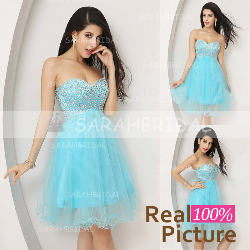 In Stock Short Sky Blue Prom Dresses Graduation Dresses Mini Sweetheart Sequined Tulle Party Gown 2015 A-Line Real Photo SD034(China (Mainland))