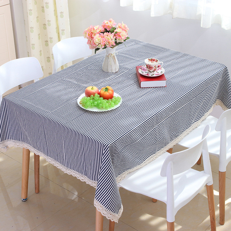 1 Piece Cute Cartoon Cotton and Linen Decorate Tablecloth/ Blue Stripe Tea Table Cloth/ Creative Table Cloth with Lace(China (Mainland))
