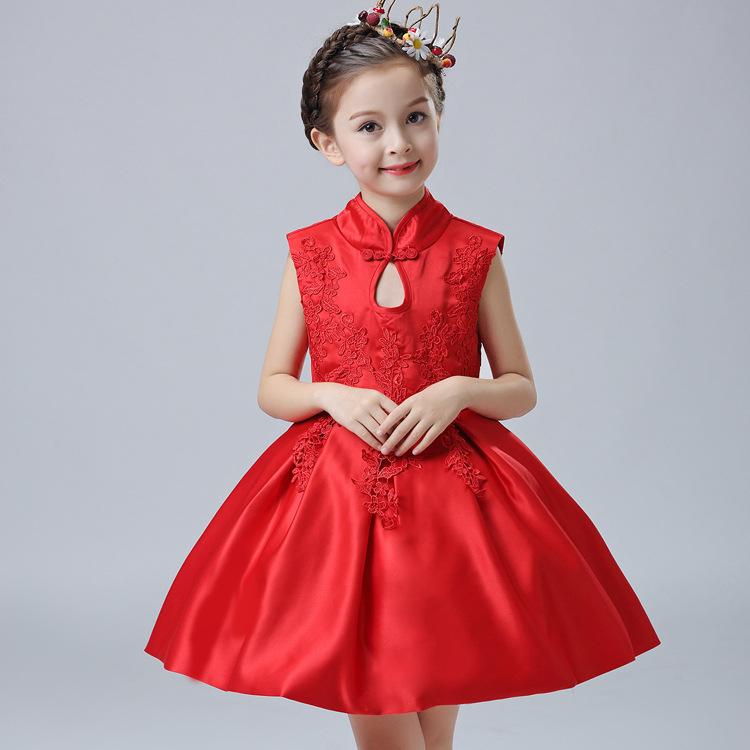 Скидки на Новые Девушки Китайский Ветер Принцесса Вышивка детская Одежда Платье Костюмы Детская Одежда Белый Красный