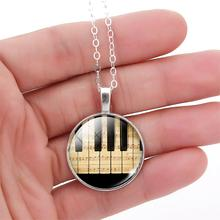Fashion Piano Keyboard Picture Pendant Necklace Vintage Silver Color Necklace Summer Style Glass Cabochon Fine Jewelry