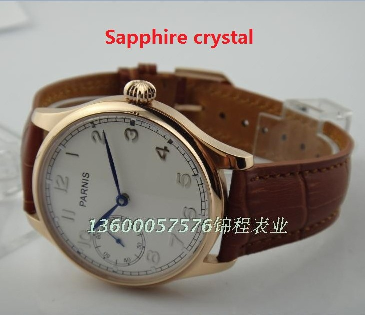 Sapphire crystal PARNIS sea gull ST3600/6497 Mechanical Hand Wind gooseneck movement plating  rose gold watchcase men's watch