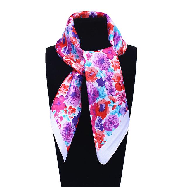 60 см * 60 см женщин 2016 новинка имитационные шелковый корея стиль весна цветочный узор печатных офис леди косынка горячая распродажа