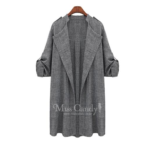 681 XL-5XL plus size Open Stitch Full Long Turn-down Collar Solid Thin Fashion Wide-waisted Trench Coat For Women autum Overcoat