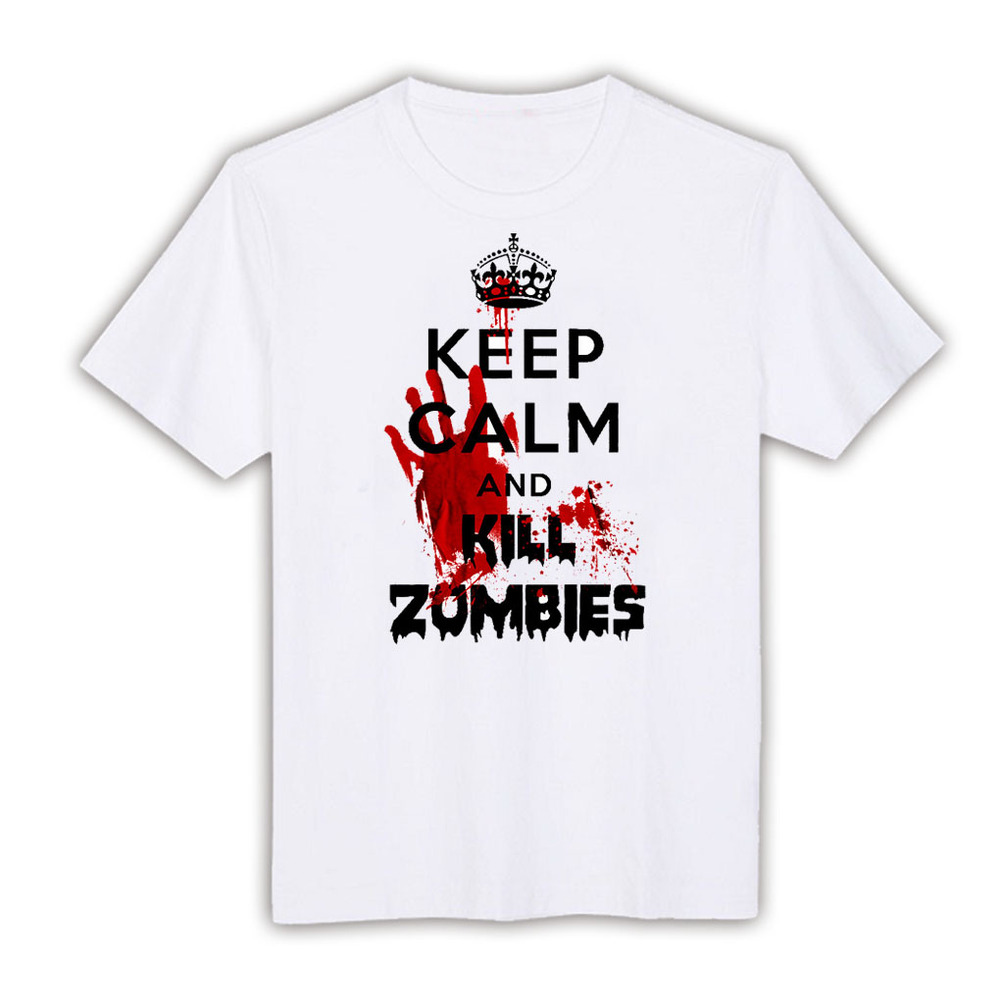Keep Calm and Kill Zombies white XLTSTA-1650 fashion funny Short Sleeve custom made tee round neck men's top t-shirts SLM XL XXl(China (Mainland))