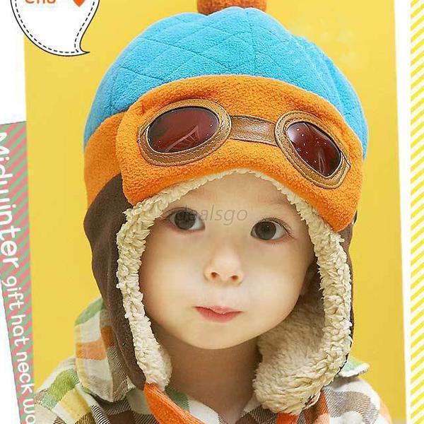 4 Цвета Детские Мальчики Девочки Шапочка Пилот Авиатор Hat Зима Хлопок Теплый Ухо Шапки