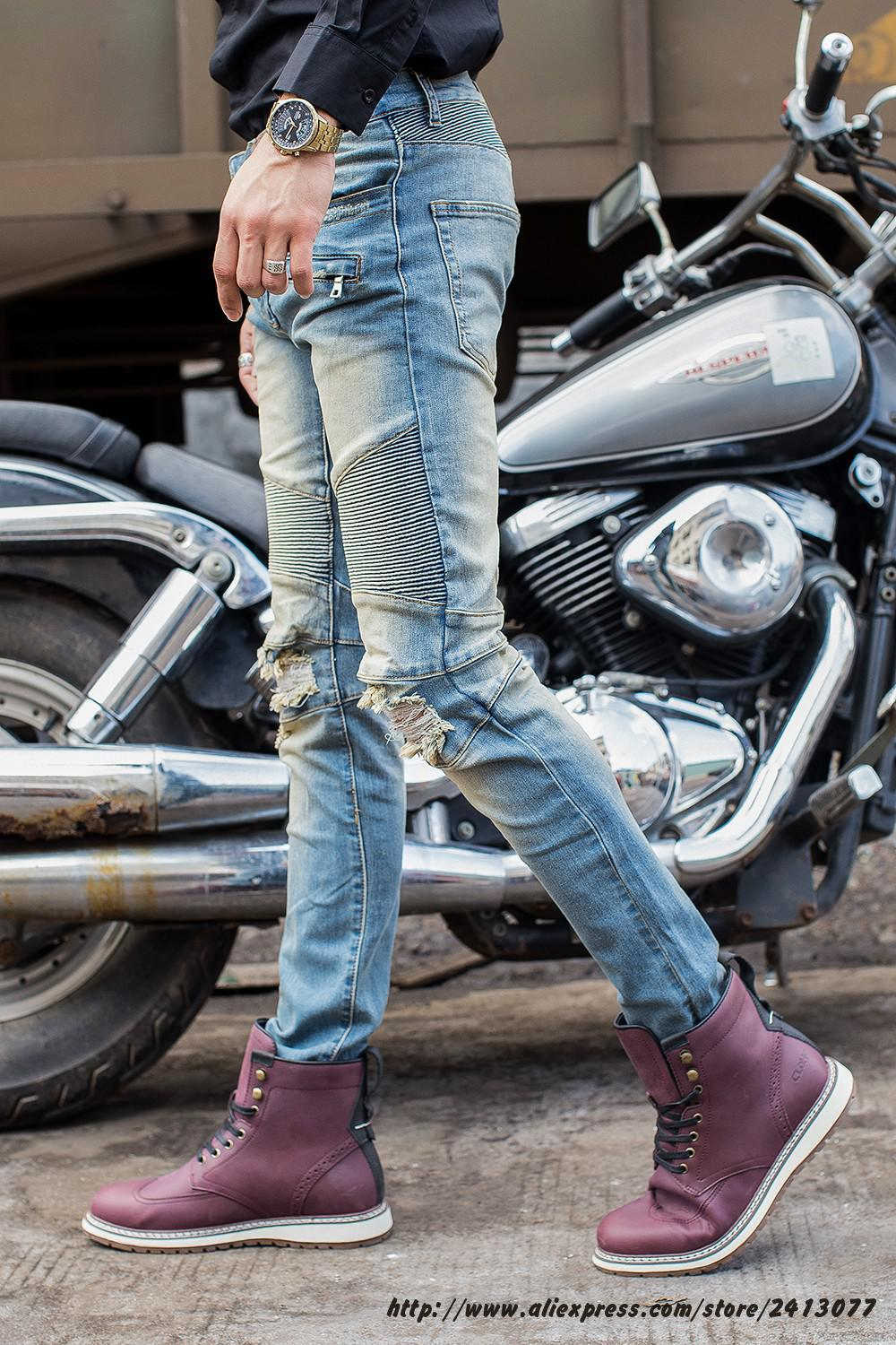 Free Shipping Biker Jeans Men Slim Elastic Skinny Straight Mens Jeans With Holes Ripped Patch Design Zipper Denim Pants 28-42