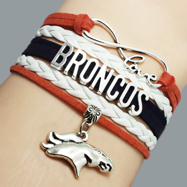 (12 Pieces/Lot) Infinity Love NFL Denver Broncos Football Sports Team Bracelet Orange Navy White - Custom - Drop Shipping(China (Mainland))