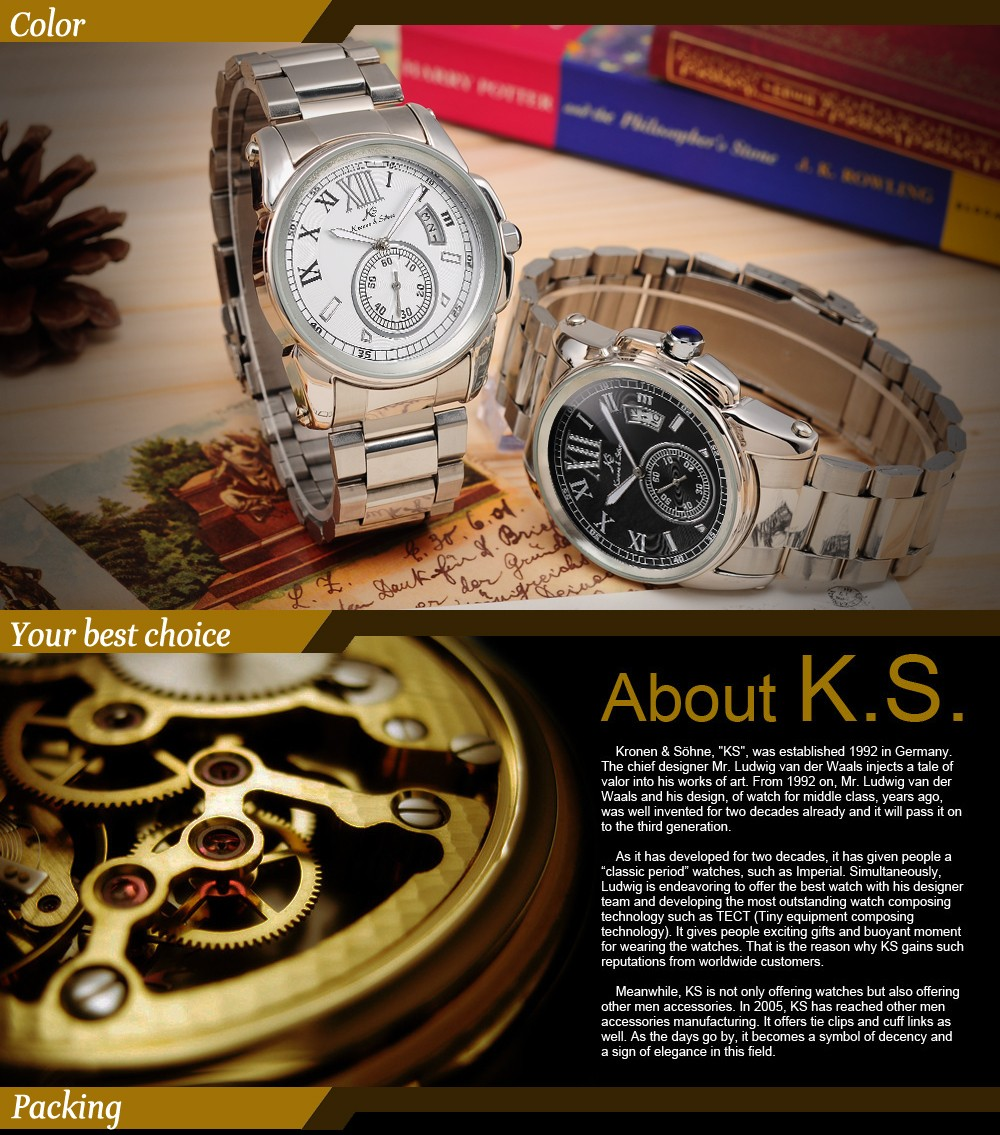 New Brand KS Business Casual Watch Men's White Dial Mechanical Analog Automatic Date Stainless Steel Band Wrist Watch / KS065