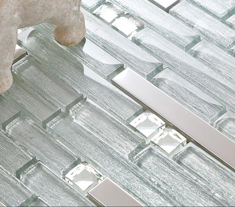tile b903 interlocking crystal glass kitchen backsplash metal tiles