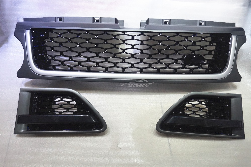 3PCS/SET ABS Plastic Grey Frame Black Mesh Grill, Car Front Grille for Land Rover Range Rover Sport 2010-2012(China (Mainland))