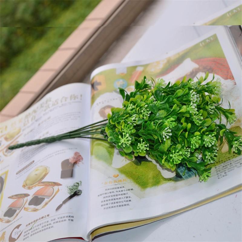Artificial Flowers Plastic Green Grass 34cm Artificial Plant Flower Household Rustic Clover Plants Artificial Grass Wholesale
