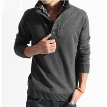 new arrival Men's pullover long sleeve sweaters Slim Korean men false two knitted sweater turn down coller D3ag(China (Mainland))