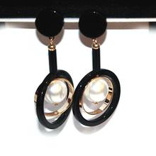 2017 New Black Statement Long Earrings For Women Bijoux Gold Plated Simulated Pearl Jewelry Fine Gift(China (Mainland))