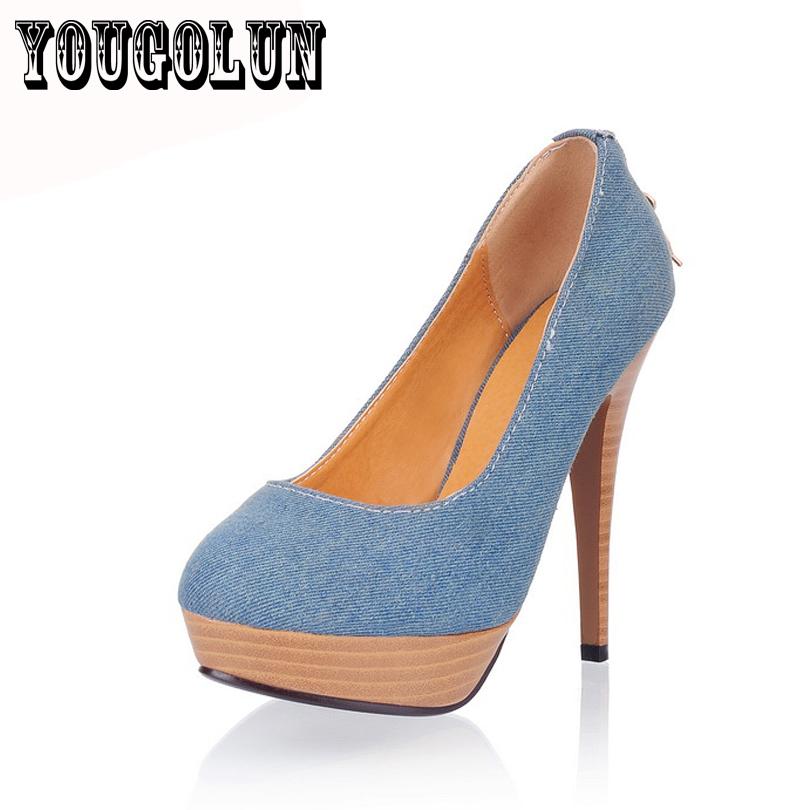 blue Canvas thin high heel shoes round toe woman shoes,women Pumps platform wedding dress work shoes sapatos femininos free ship
