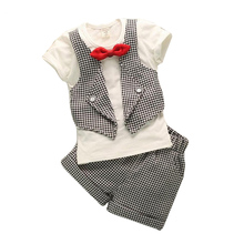 Fashion fake two children lattice gentleman serving baby boys summer short sleeved suit pants 2pc sets