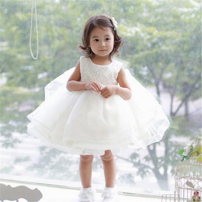 Скидки на 2016 Лето белого кружева цветок платье Принцессы Девочка Свадебные и День Рождения платье детская одежда