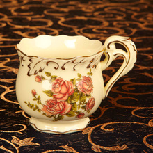 European Luxury Tea and Coffee Set of Mugs Hand Painted Red Gold Rose Flower Ivory Porcelain