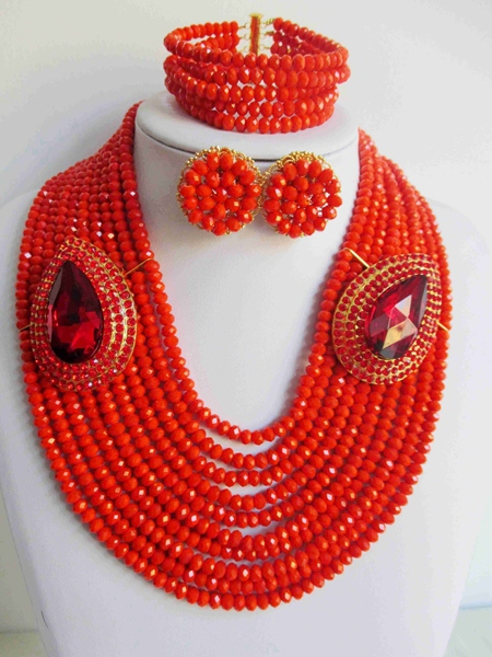 2015 Fashion african crystal beads necklace set nigerian wedding african beads jewelry set Free shipping P-3750<br><br>Aliexpress