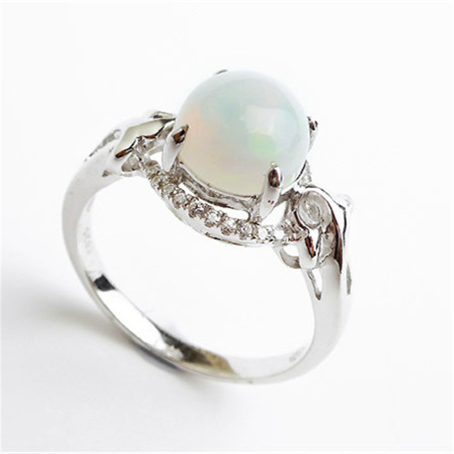 925 Sterling Silver Jewelry Size 7 High Quality AAA Finger Party Rings For Women Fashion Opal Natural Stone Bead Rings<br><br>Aliexpress