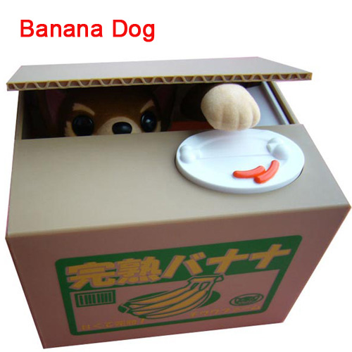 Creative piggy bank Storage tanks Christmas gift electronic Children's birthday gift toys Dog eat coins money box Banana dog(China (Mainland))