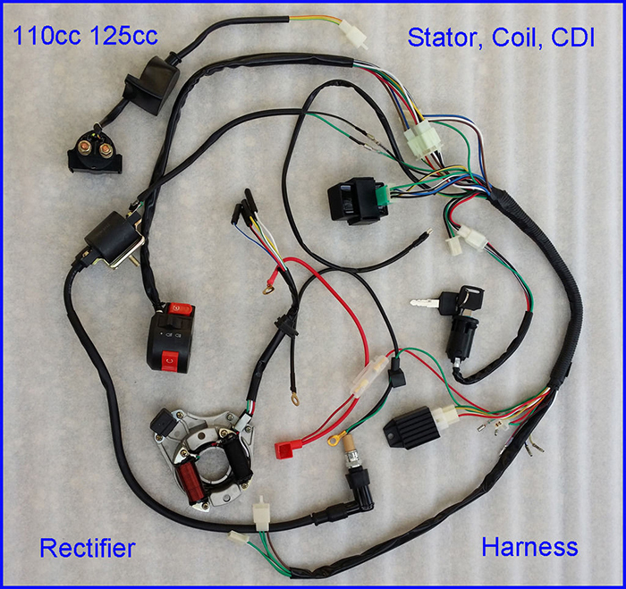 STOCK IN USA 50/70/90/110CC/125cc WIRE HARNESS WIRING CDI ASSEMBLY ATV QUAD COOLSTER(China (Mainland))