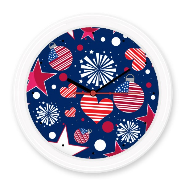 USA America Flag Love Heart Star Festival Pattern Silent Non-ticking Round Wall Decorative Clock Home Decal Wedding Decoration