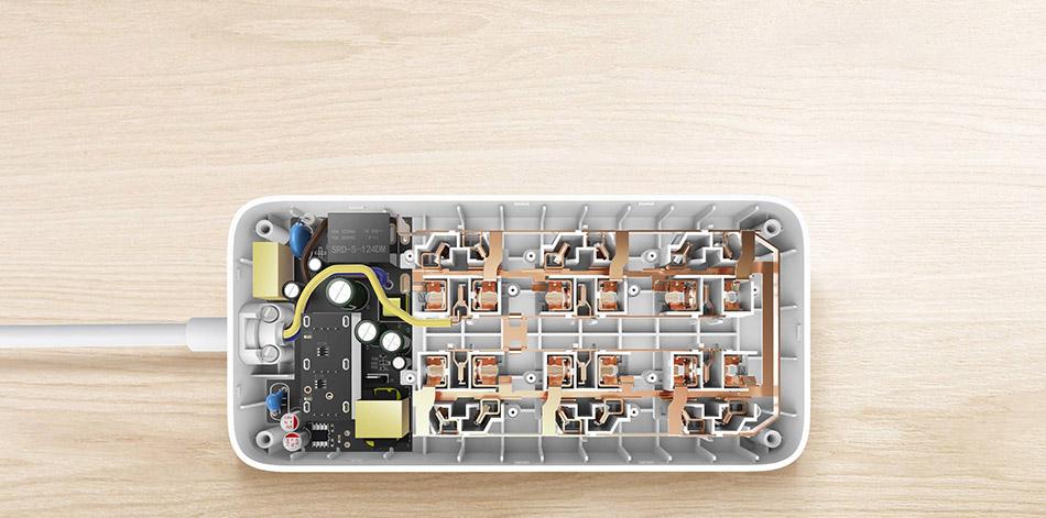 Original Xiaomi Smart Power Strip 2.1A Fast Charging 3 USB Extension Socket Plug 6 Standard Socket Adapter (6)