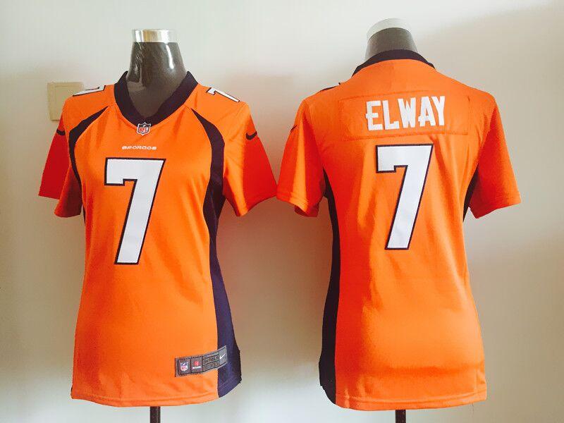 2016 Women Denver broncos, 7# John Elway, white blue orange, 100% stitched logo, free shipping(China (Mainland))