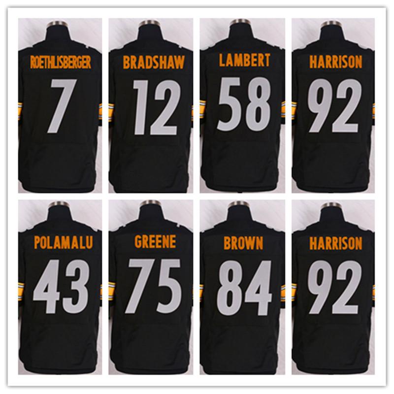 Cheap jerseys 7 Ben Roethlisberger jersey black 43 Troy Polamalu James Harrison 84 Antonio Brown 12 Terry Bradshaw Elite jersey(China (Mainland))